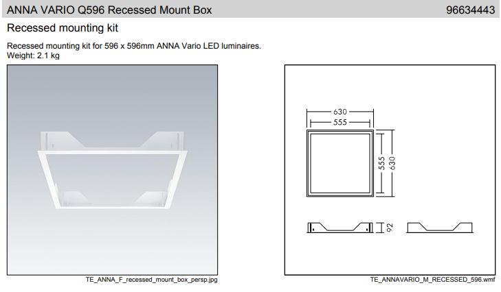Thorn ANNA VARIO Q596 Recessed Mount Box sűlyesztett szerelő keret keret