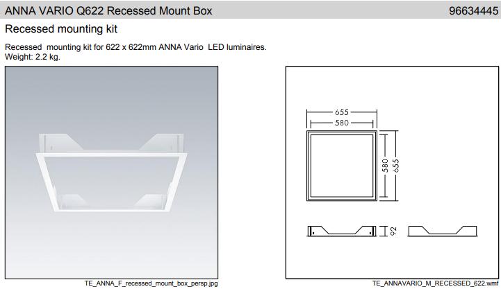 Thorn ANNA VARIO Q596 Slim Surface Mount Box Mennyezeti doboz felületre történő szereléshez