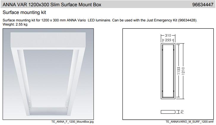 Thorn ANNA VARIO 1200x300 Slim Surface Mount Box Mennyezeti doboz felületre történő szereléshez