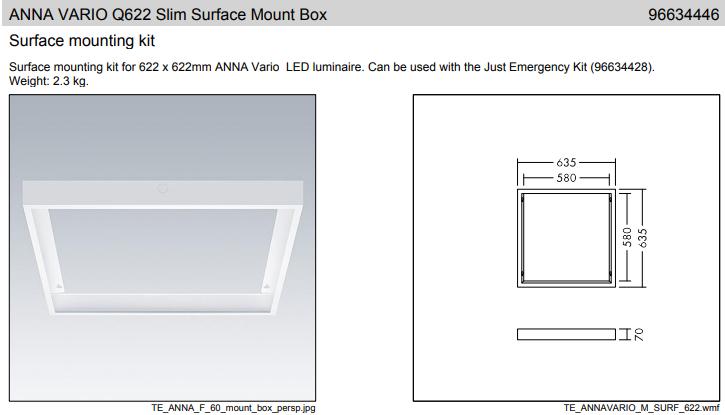Thorn ANNA VARIO Q622 Slim Surface Mount Box Mennyezeti doboz felületre történő szereléshez